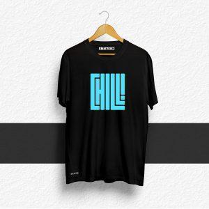 Chill Black Half Sleeve Printed T-Shirt
