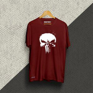 Punisher Maroon Half Sleeve Tshirt