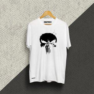 Punisher White Half Sleeve Tshirt