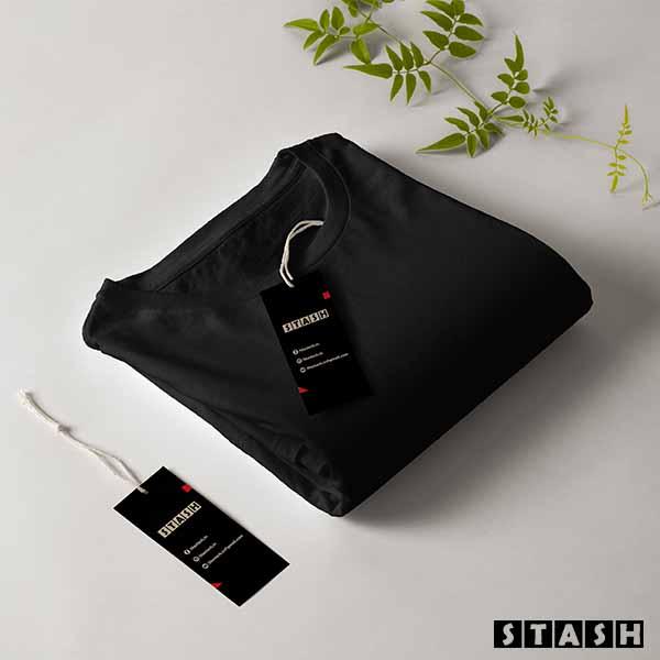 Black Unisex Plain Full Sleeves Tshirt